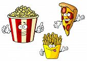 stock photo of popcorn  - Funny fastfood cartoon characters depicting smiling pizza slice - JPG