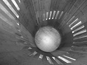 picture of helix  - Abstract concrete round tower interior with windows placed in helix 3d illustration - JPG
