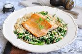 pic of kidney beans  - Fried salmon with brown rice - JPG
