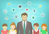 picture of teachers  - Modern flat vector conceptual illustration of man teacher and kids with school icons and concepts - JPG