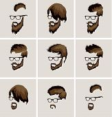 image of rogue  - hairstyles with beard and mustache wearing glasses - JPG