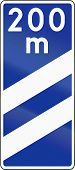 stock photo of countdown  - Polish highway countdown marker announcing highway exit in 200 meters - JPG