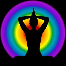 image of tantra  - Human silhouette in yoga pose with aura and chakras colors on background - JPG