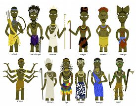 foto of witch-doctor  - A set of different African god illustrations including Ochosi - JPG