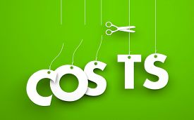 stock photo of waste reduction  - Scissors cuts word COSTS - JPG