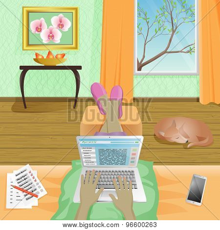 Woman Freelancer work at home on laptop