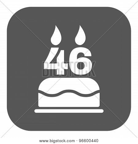 The birthday cake with candles in the form of number 46 icon. Birthday symbol. Flat
