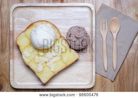 Ice Creams And Almond Slice On Toast