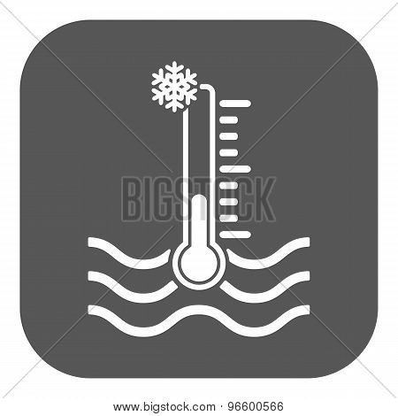 The cold water temperature icon. Icy liquid symbol. Flat