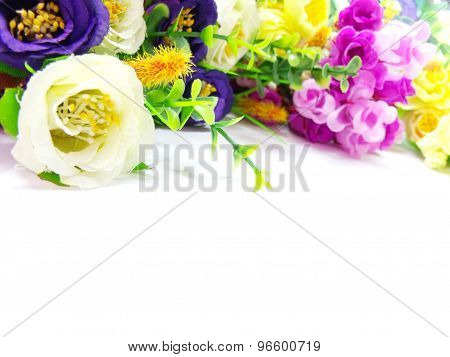 artificial flowers bouquet isolated on white background
