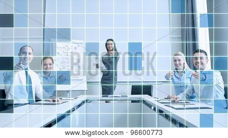 business, people and teamwork concept - group of smiling businesspeople meeting and pointing finger at you in office over blue squared grid background
