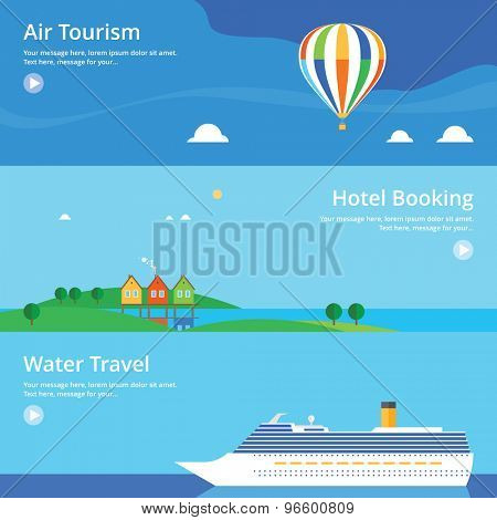 Colorful vector flat banner set. Quality design illustrations, elements and concept - Hotel booking, Water travel, Air tourism