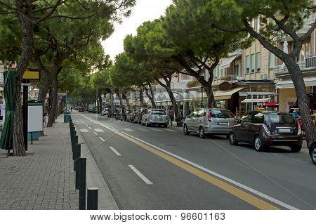 Lido di Jesolo street at dusk