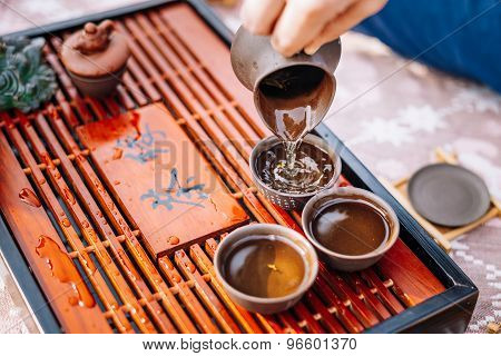 Table For Traditional Tea Ceremony Utensils, Chinese Teacup