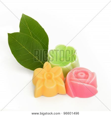 Natural Herb Soaps Isolate On A White Background (bread Flower,
