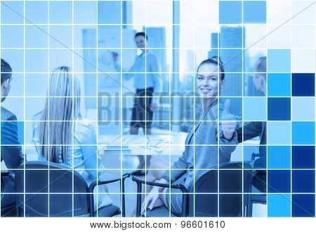 business, people and success concept - smiling businesswoman with team in office showing thumbs up over blue squared grid background