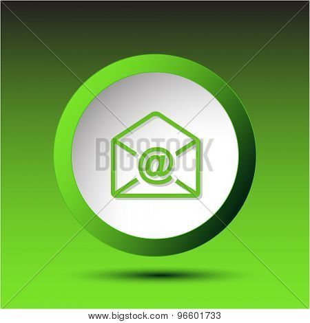 mail at-sign. Plastic button. Vector illustration.