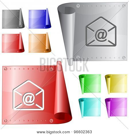 mail at-sign. Vector metal surface.