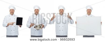 cooking, profession, culinary and people concept - happy male chef cook with tablet pc computer, blank white board whisking something in bowl and showing thumbs up gesture