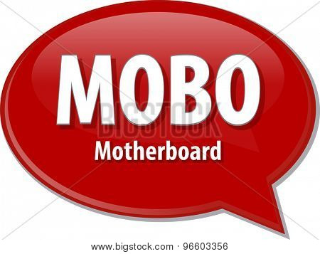 Speech bubble illustration of information technology acronym abbreviation term definition MOBO Motherboard