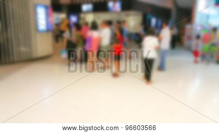 Abstract blur People Buying Tickets At The Cinema Premiere Movies