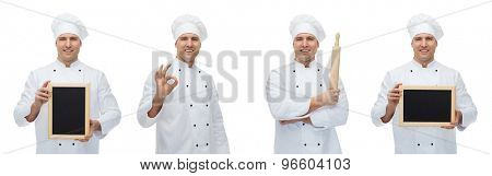 cooking, profession, advertisement and people concept - happy male chef cook or baker in toque holding blank menu board, rolling pin and showing ok hand sign