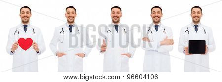 medicine, profession, cardiology and health care concept - doctors with red heart, tablet pc and clipboard