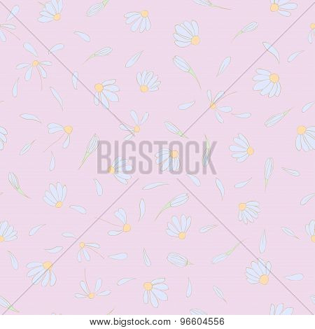 Seamless pattern with cute chamomile flowers.
