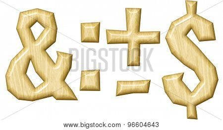 Wooden punctuation marks set isolated on white background.