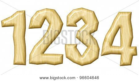 Wooden numeral set isolated on white background.