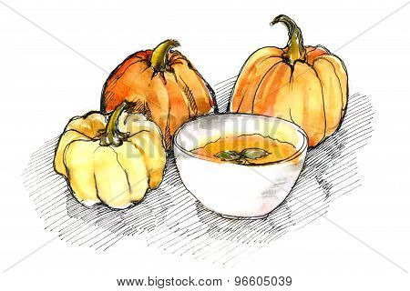 watercolor of pumpkins and pumpkin soup