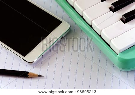 Smartphone Melodica And Pencil