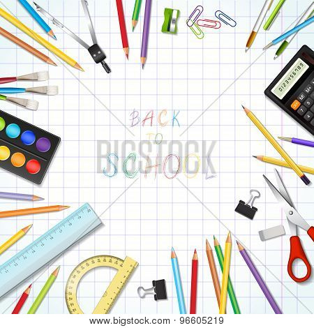 Back To School Background With Supplies Tools.