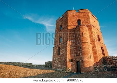 Tower Of Gediminas - Gedimino - In Vilnius, Lithuania. Historic Sy