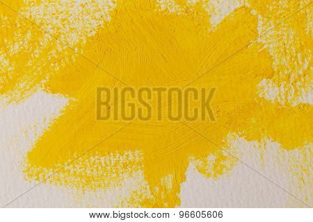 Close Up Of The Yellow Paint Strokes