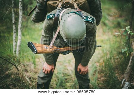 Unidentified re-enactor dressed as German soldier during events