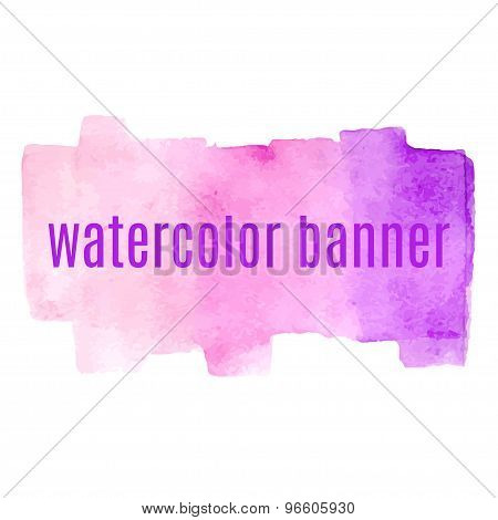 Watercolor Pink Banners Desing Element Isolated On White Background Vector Illustration.