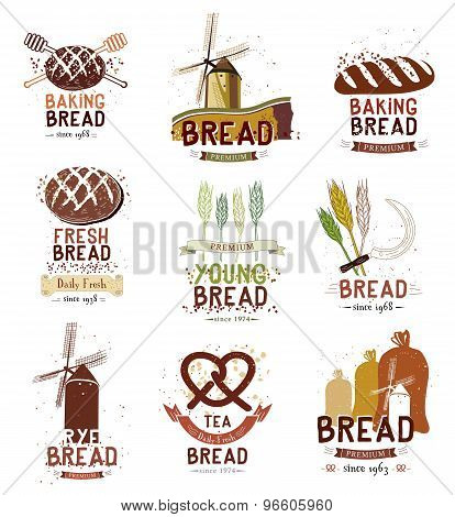 Set of retro bakery and bread logo, labels, badges and design elements.