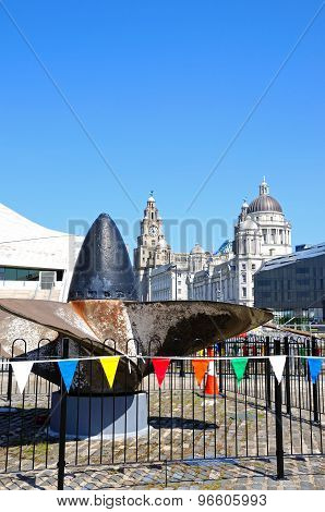 Ships Propeller and Three Graces, Liverpool.