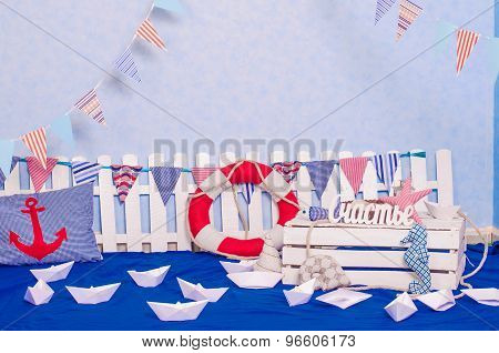 Maritime decor paper boats, shells