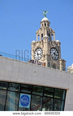 Liver Building Clock Tower, Liverpool.