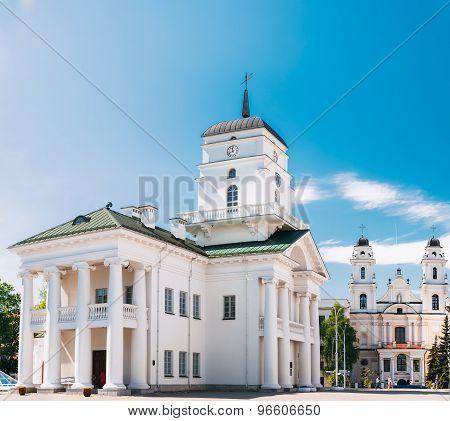 White Building Old City Hall In Minsk, Belarus