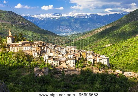 picturesque landscapes of Abruzzo. View of village and mountains