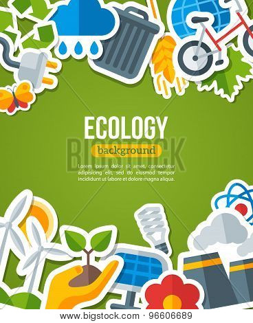 Ecology Background with Environment and Green Energy Flat Icons.