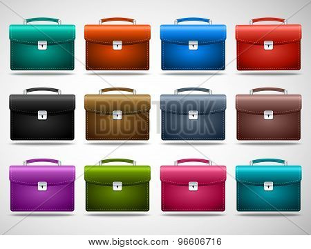 set of colored briefcases on the gray background. vector illustration eps10