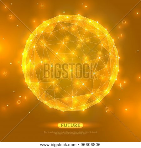 Abstract vector sphere. Futuristic technology wireframe mesh
