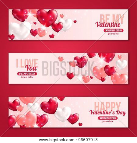 Valentines Day Horizontal Banners Set with Hearts for Holiday Design.