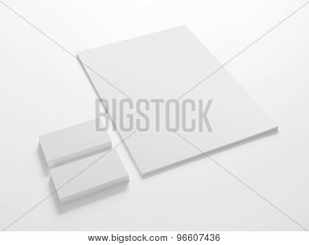 Blank stationery template with business cards.