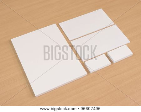 Stationary set isolated on wood table.