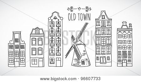 Hand sketched houses and mill in Amsterdam